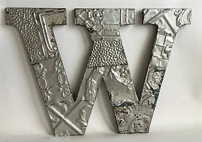 """Large Antique Tin Ceiling Wrapped 16"""" Letter 'W' Patchwork Metal Silver A18"""