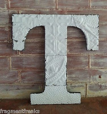 """Large Antique Tin Ceiling Wrapped 16"""" Letter 'T' Patchwork Metal Chic White R3"""