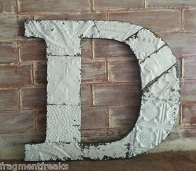 "Large Antique Tin Ceiling Wrapped 16"" Letter 'D' Patchwork Metal Chic White F20"