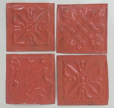 "1890's Reclaimed Antique Tin Ceiling Tiles 4- 6"" x 6"" Coral TT-6 Anniversary"