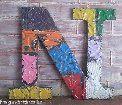 "Large Antique Tin Ceiling Wrapped 16"" Letter 'N' Patchwork Metal Multi Color RS5"