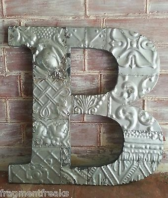 "Large Antique Tin Ceiling Wrapped 16"" Letter 'B' Patchwork Metal Silver RS1"