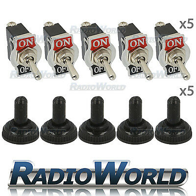 5x Waterproof Toggle Flick Switch 12V ON/OFF Car Dash Light Metal 12 Volt SPST