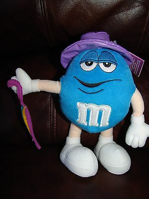 Blue M&M w/ Rain Hat and Umbrella Plush Doll 9""