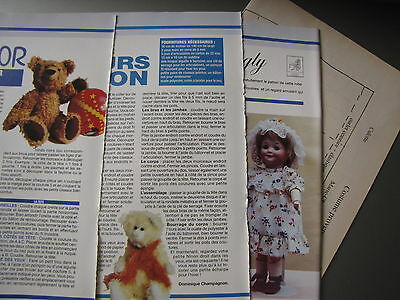 "PATRON COUTURE OURS NOUNOURS "" NINON "" ""JUNIOR"" POUPEE GOOGLY, pages originales"