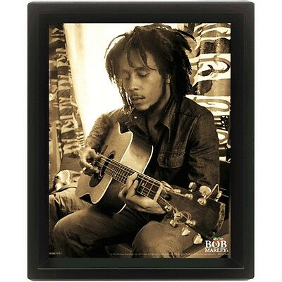 """10 """"x 8"""" Bob Marley Assis 3d Affiche Lenticulaire - Sitting With Guitar Poster"""
