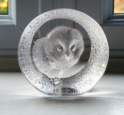 Mats Jonasson Owl Paperweight Signature Collection Lead Crystal Signed Label