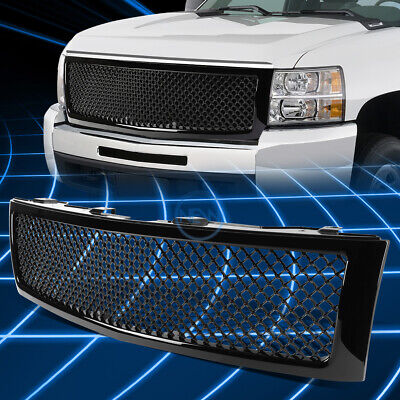 Black ABS Front Bumper Honeycomb Mesh Grille for 2007-2013 Chevy Silverado 1500