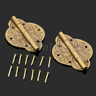 2Pcs Brass Hardware Wooden Jewelry Box Case Chest Hinge Cabinet Cupboard