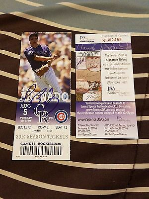 Javier Baez Signed Mlb Debut /1St Hr Season Ticket Stub Jsa Rookie Graph Coa