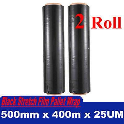 2 Rolls 500mm x 400m 25um Black Stretch Film Pallet Wrap Wrapping Packing NEW