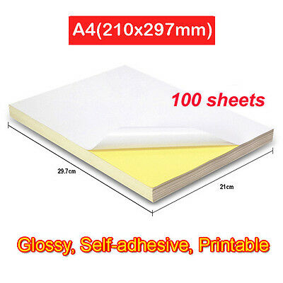 100 x A4 White Glossy Self-Adhesive Sticker Paper Label Laser Inkjet Printable