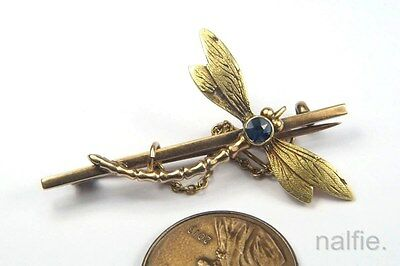 ANTIQUE ENGLISH 9K YELLOW & GREEN GOLD SAPPHIRE DRAGONFLY BAR BROOCH c1900