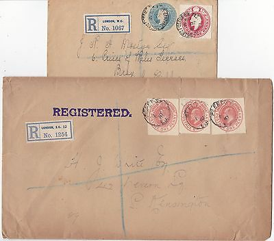 * 1908/10 2 London Covers Registered With Postal Stationery Cut Outs 1   Ireland
