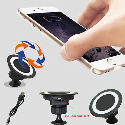 Qi Wireless Charger Car Holder Charging Pad For iPhone Samsung Galaxy S5 S4 HTC