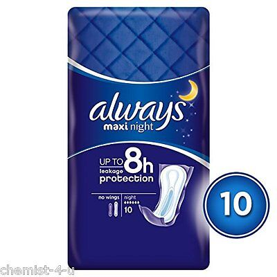 Always Maxi Comfort and Protection Night Sanitary Towels - Pack of 10
