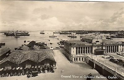 Vintage Postcard.colombo Harbour Ceylon Shipping Line Of Ox Wagons Piate Rp
