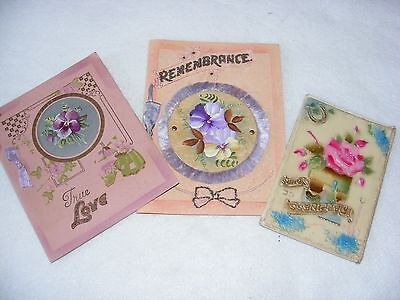 Vintage Greeting Cards X 3 Christmas Birthday Hand Painted Celluloid Fold Open