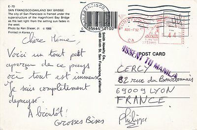 Philippines Postcard Sunnyvale Usa To Lyon France 'missent To Manila'
