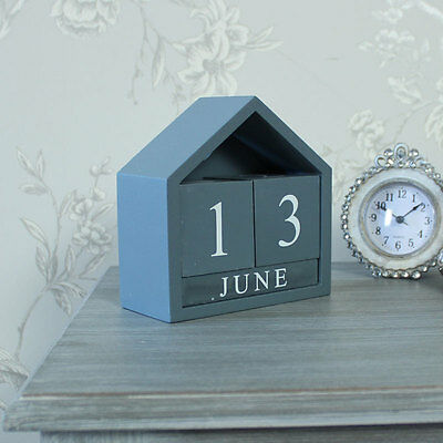 Grey wooden perpetual calendar shabby vintage chic home gift accessory year