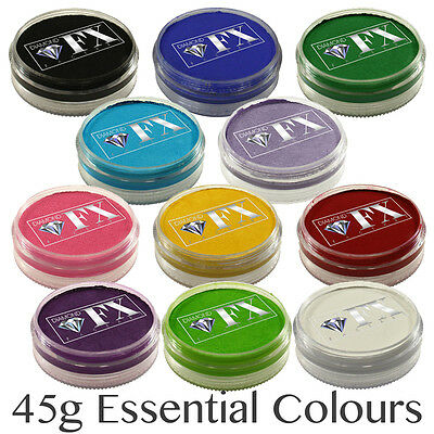 45g Diamond FX (DFX) Professional Face Paint ~ Essential Colours