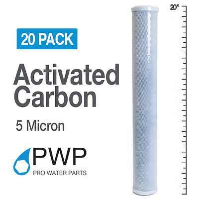 20 Pack 2.5 x 20 In Carbon Block Water Filter Whole House RO CTO 5 Micron
