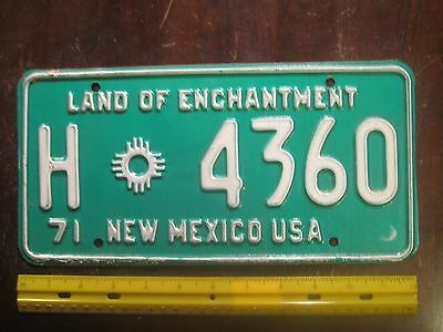 "License Plate, New Mexico, 1971, Land of Enchantment, H ""Zia"" 4360"