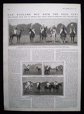 INTERNATIONAL POLO CUP MEADOWBROOK CLUB USA LESLIE CHEAPE 1pp PHOTO ARTICLE 1911