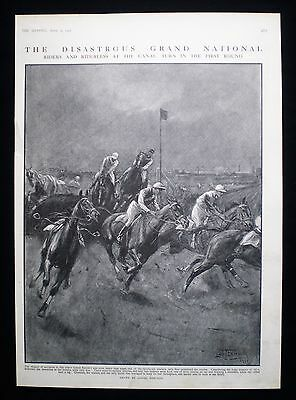 Grand National Steeplechase Horse Race Racing Aintree Print / Article 1911
