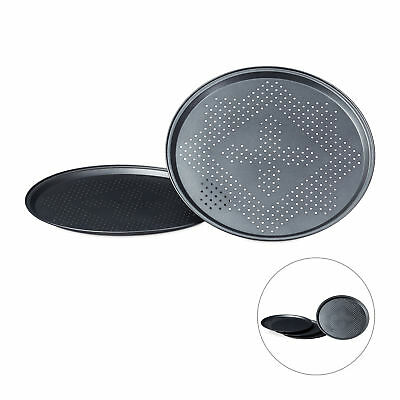 Pizzablech Set, mit Perforation, Backbleche Pizza, 29 Durchmesser Pizzabackblech