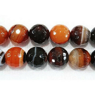 Strand Of 42+ Mixed Agate 8mm Faceted Round Beads HA04945