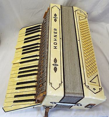 Beautiful Vintage HOHNER 24 Key ACCORDION w/ Case WORKS
