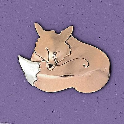 Far Fetched Slumbering FOX PIN Brooch STERLING Silver Copper Fair Trade - Boxed