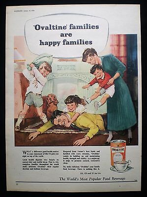OVALTINE COCOA DRINK PILLOW FIGHT FAMILY 1pp MAGAZINE ADVERT 1958