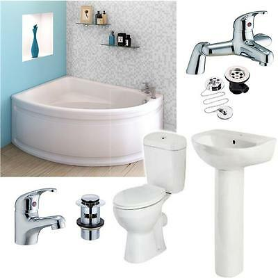 Complete Full Bathroom Suite Corner Bath 1500x1050 Panel  + Toilet & Sink + Taps