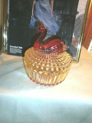 Exquisite Gold-tinted Glass Swan Vanity/Powder Jar - Very Collectible
