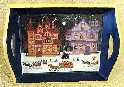 """Vintage Collectibles-Christmas Town Tray--10"""" Long--Very Nice!"""