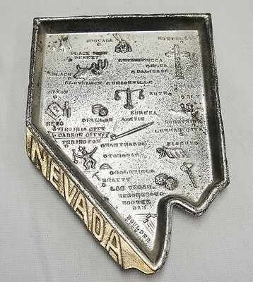 Nevada State Silver Metal Figural Souvenir Tray Points of Interest Vintage