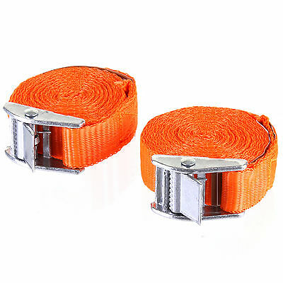 Pack of 2 Cam Buckle Tie Down Strap Set Roof Rack Trailer Cargo 25mm x 2.5M Long