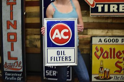 VINTAGE AC DELCO  DEALER TIN SIGN 60's 70's Oil Filter Gas Station Repair Shop