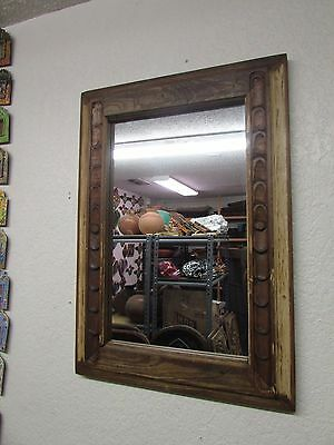 Antique Old Door Carved Mirror #6-Mexican-23x33-Primitive-Wood-Reclaimed