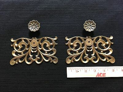 2  large Vintage Ornate Cast Brass ESCUTCHEONS  plates, pulls, knobs