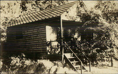 Indian Cliff Motor Court Rte 3 Between Concord & Manchester RPPC Log Cabin