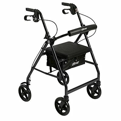 """Black 4 Wheel Rollator Walker with Seat and 6"""" Wheels Drive Medical"""