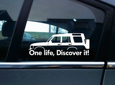 2x 'One Life, Discover it! silhouette stickers  for Land Rover Discovery classic
