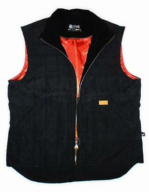 Large OUTBACK TRADING Black Red QUILTED COMFORTEMP Zipper VEST *Interior Pockets