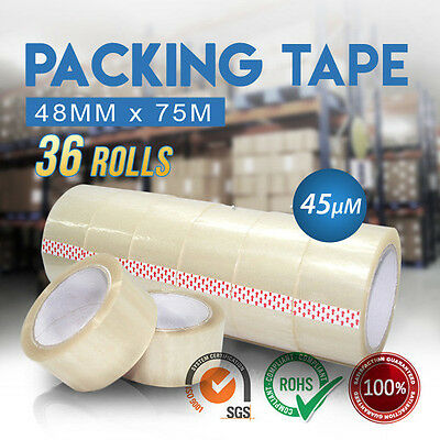36 Roll Packing Tape Clear Packaging Sticky Sealing Storage Box Carton 48mm 75m