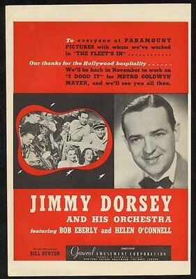 1942 Jimmy Dorsey photo music trade booking ad 2