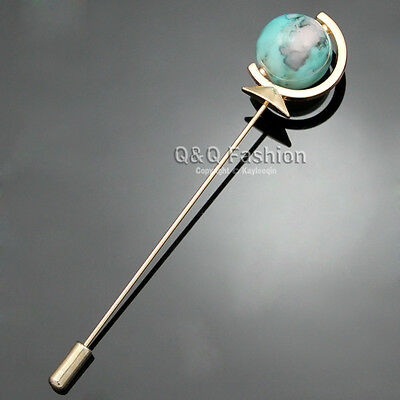 Men Gold Earth Globe Planet Turquoise Lapel Stick Pin Tie Hat Scarf Brooch W8