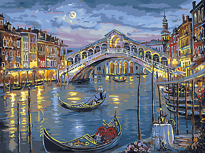 Painting by Number kit The Canal City Venice Gondolier Boat Night Hiking BB7615